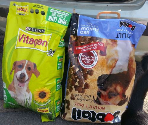 Some super sized bags of dog food, kindly donated